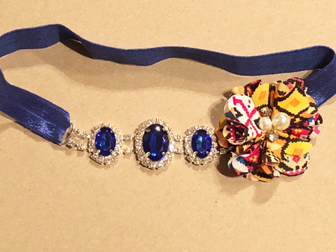 Royal Blue Aztec Rhinestone Headband