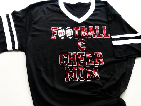 Custom Football and Cheer Mom Jersey Shirt - Paisley Bows