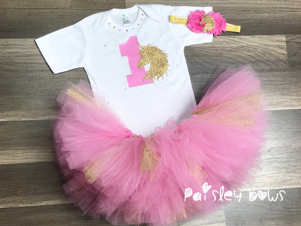 Pink And Gold Unicorn First Birthday Tutu Set - Paisley Bows