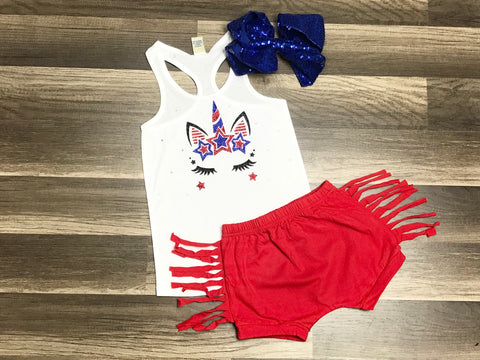 Unicorn Fourth Of July Outfit - Paisley Bows