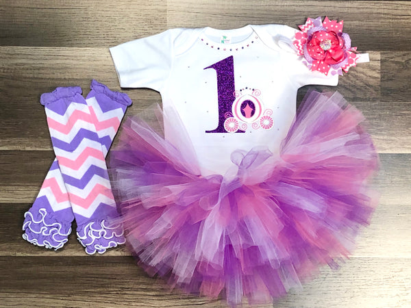 Princess First Birthday Tutu Outfit - Paisley Bows