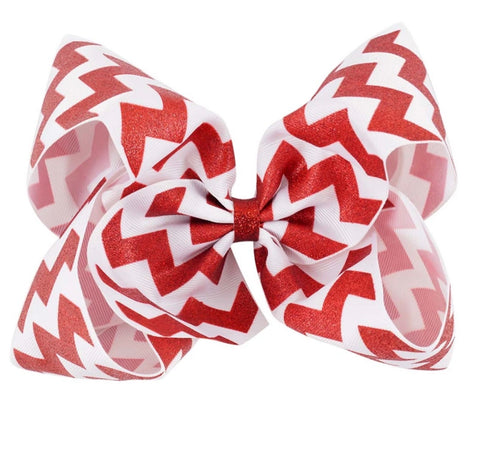 8 Inch Red and White Chevron Hair Bow - Paisley Bows
