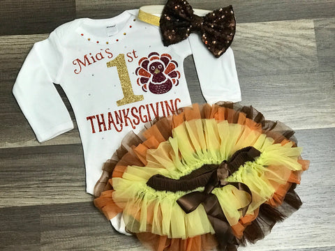 Personalized 1st Thanksgiving onesie ONLY - Paisley Bows