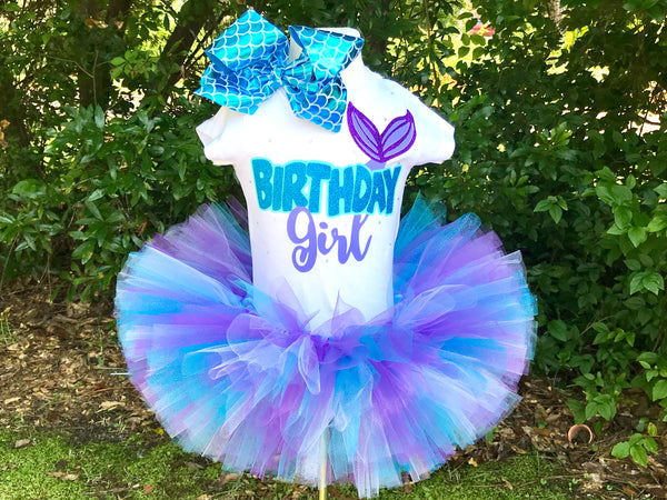 Mermaid Birthday Girl Tutu Outfit - Paisley Bows