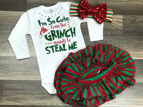I'm so cute even the Grinch wants to steal me  3pc set - Paisley Bows