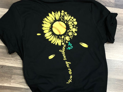 Softball Sunflower Shirt Infant, Toddler, Youth, Adult