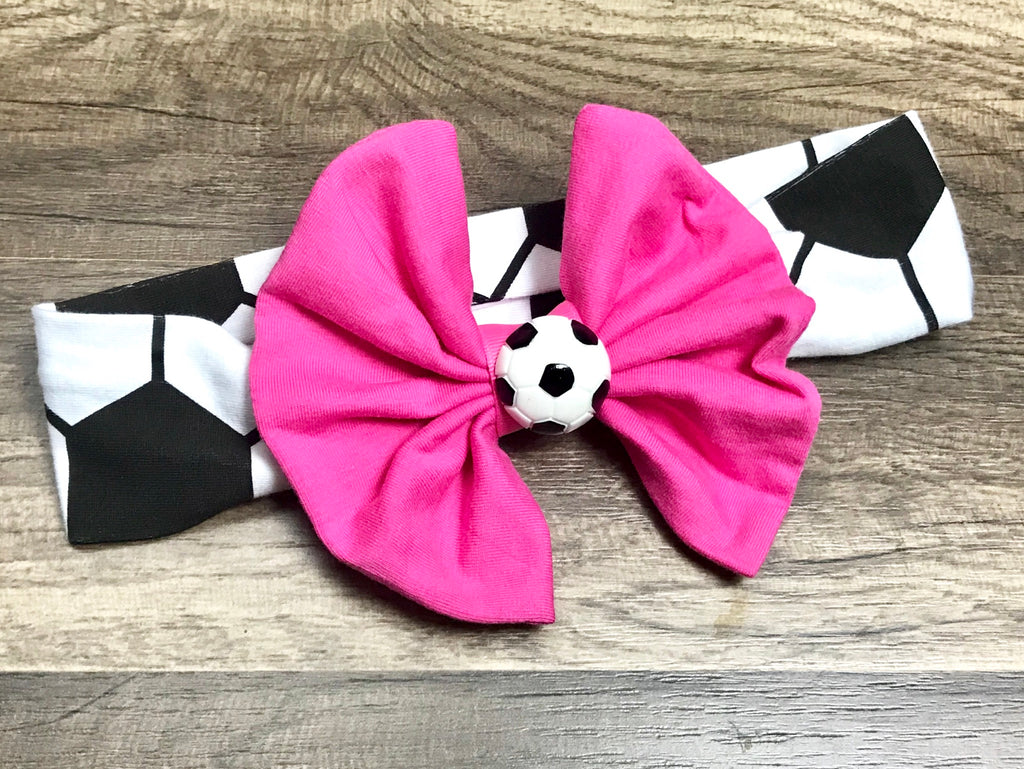 Soccer Big Bow Headband - Paisley Bows