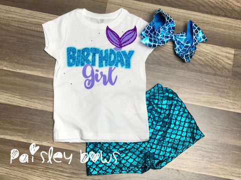 Birthday Girl Mermaid Outfit - Paisley Bows