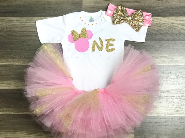 Pink And Gold Minnie Mouse Birthday Outfit - Paisley Bows