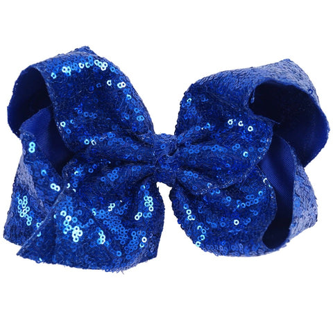 Blue Sequin Hair Bow - Paisley Bows