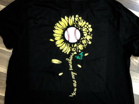 Baseball Sunflower Shirt Infant, Toddler, Youth, Adult - Paisley Bows