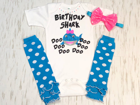 Baby Shark Birthday hair bow cheer bow 6 shark bow baby shark hair bow baby shark doo doo doo doo
