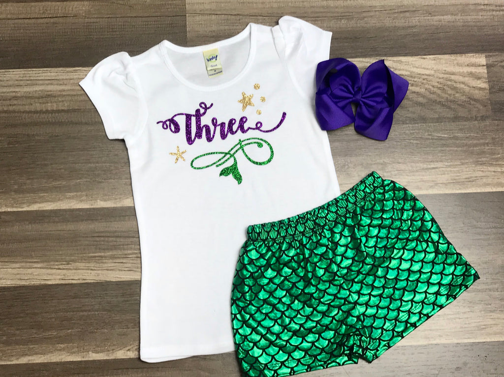 Mermaid 3rd Birthday Outfit - Paisley Bows