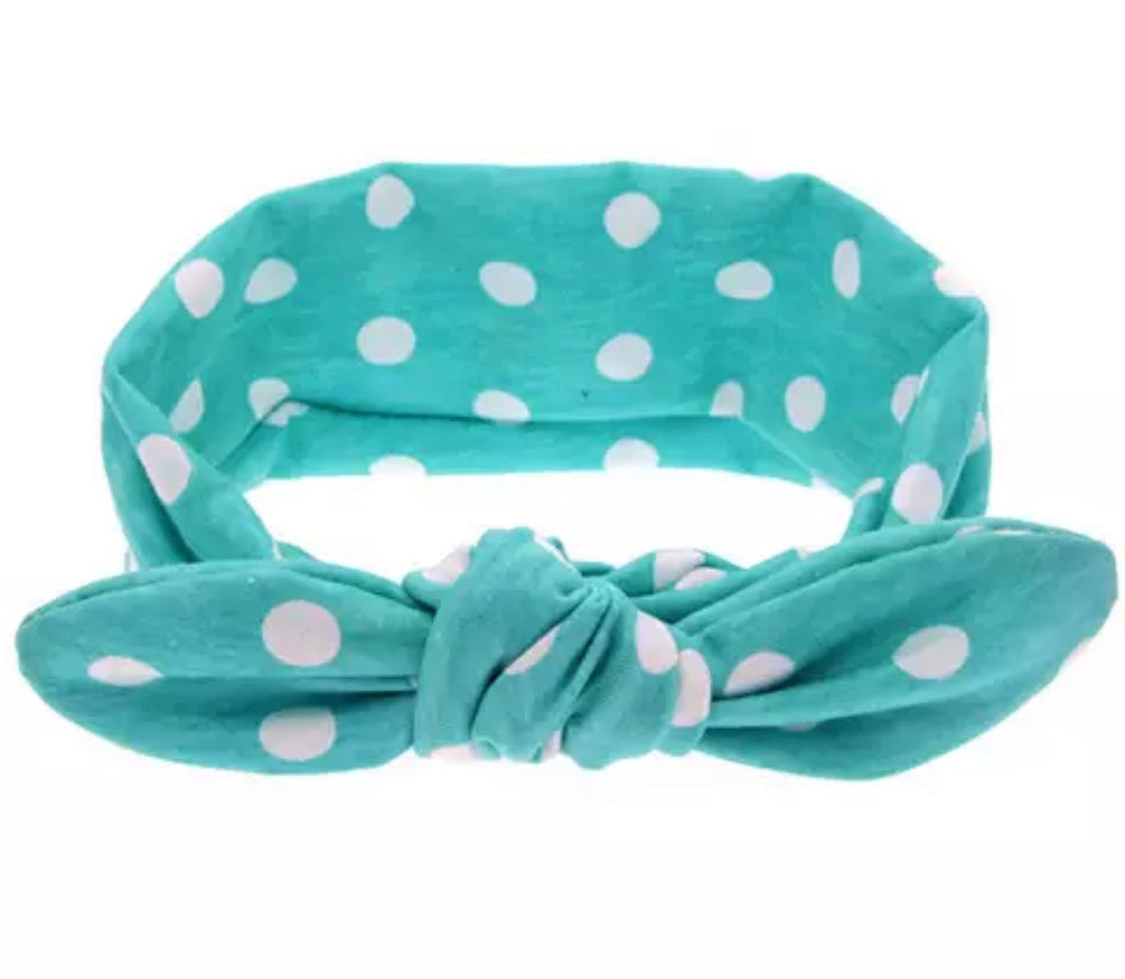 Turquoise And White Top Knot Headband - Paisley Bows