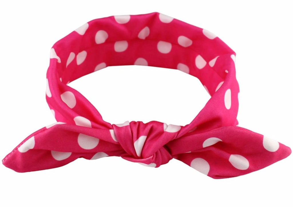 Hot Pink And White Top Knot Headband - Paisley Bows