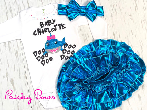 Customized Baby Shark Top Or Outfit - Paisley Bows