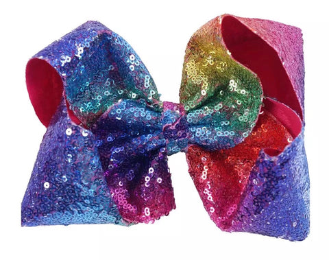 Rainbow sequin Hair bow