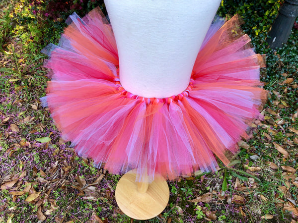 Pink, Red, Orange and White Tutu - Paisley Bows