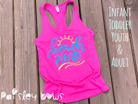 Beach Please Tank Top - Paisley Bows