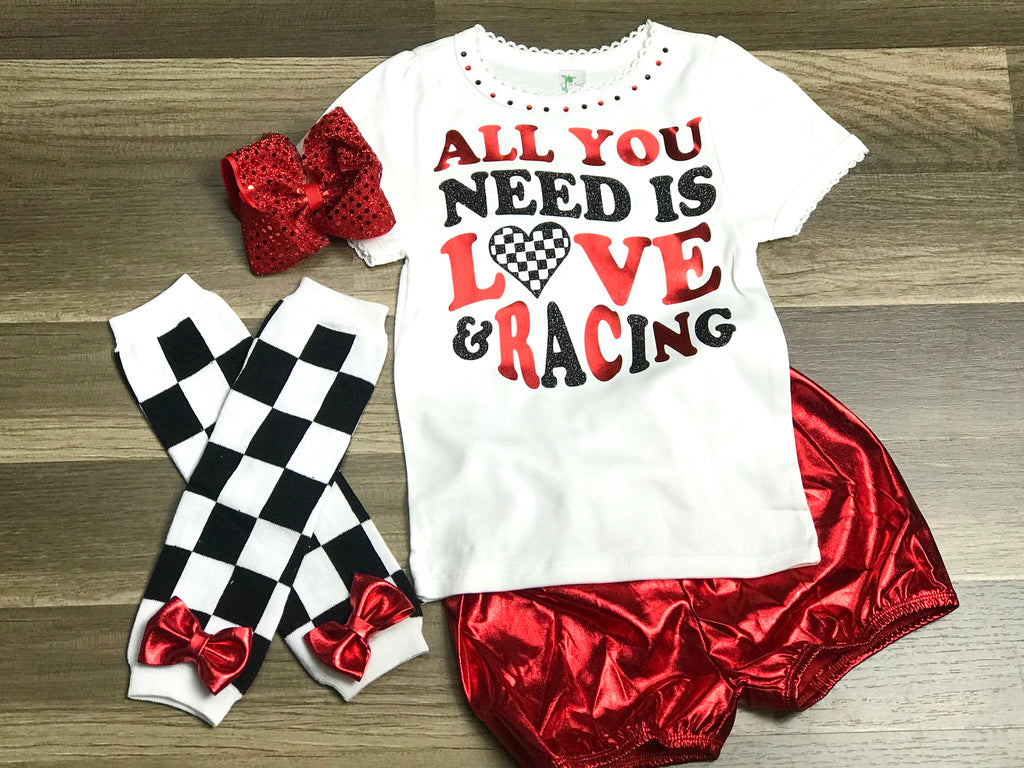 All You Need Is Love And Racing Shorts Set - Paisley Bows
