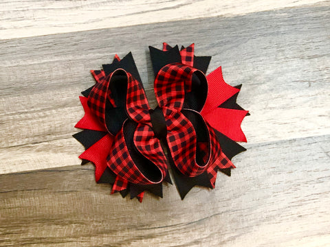 Buffalo Plaid Hair Bow Or Headband - Paisley Bows