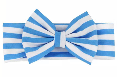 Turquoise And White Stripe Big Bow Headband