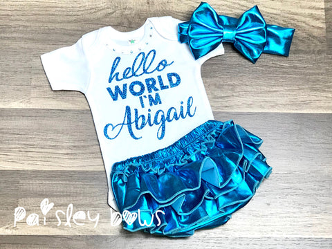 Custom Hello World Onesie Or Outfit - Paisley Bows