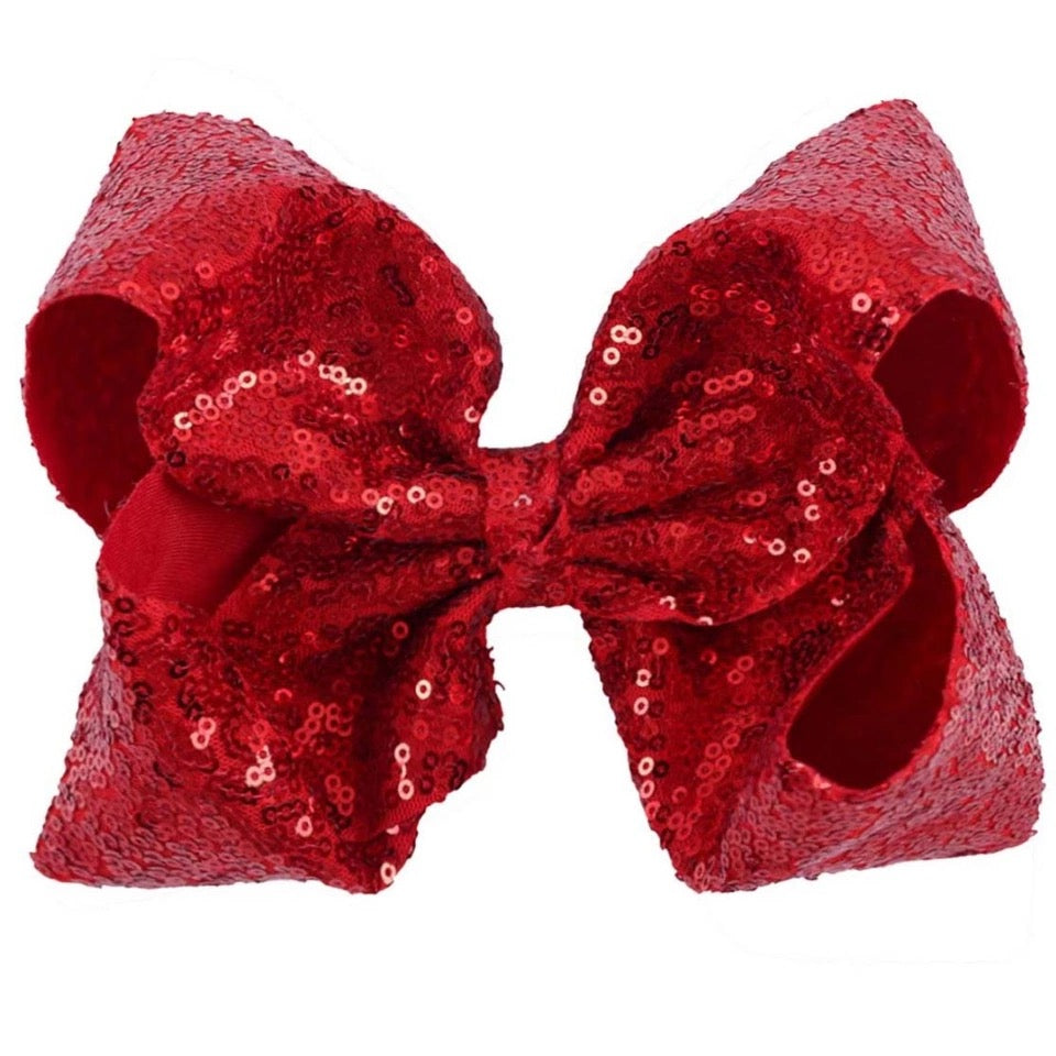Red Sequin Hair Bow - Paisley Bows