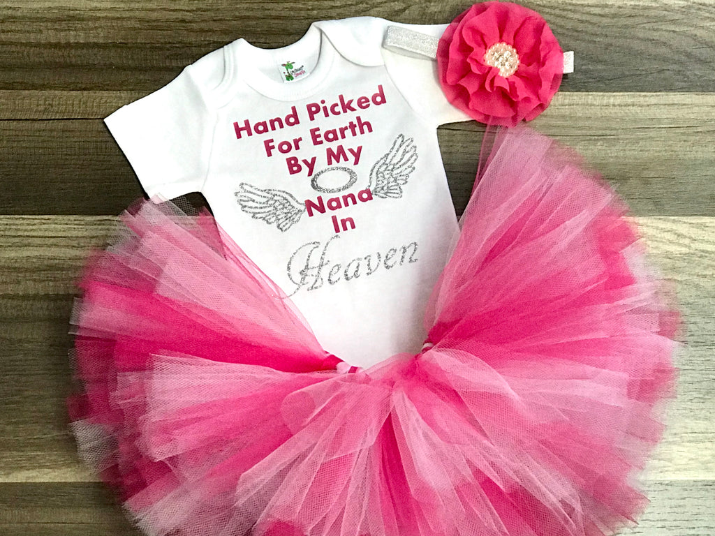 Hand Picked For Earth By My Nana In Heaven Tutu Outfit - Paisley Bows