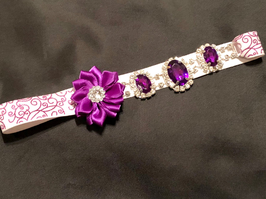 Royal Purple Rhonestone Headband - Paisley Bows