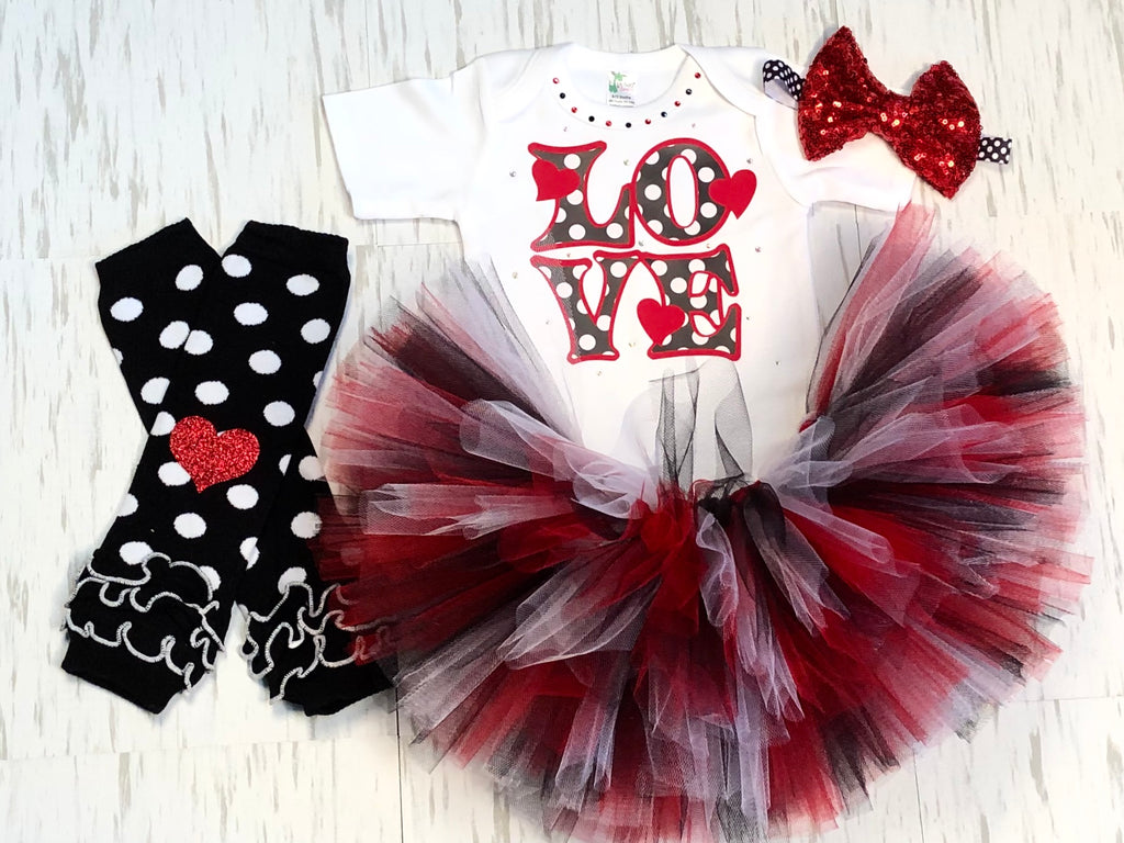 Black And White Love Tutu Outfit - Paisley Bows