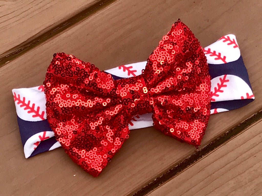 Blue And Red Baseball Headband - Paisley Bows