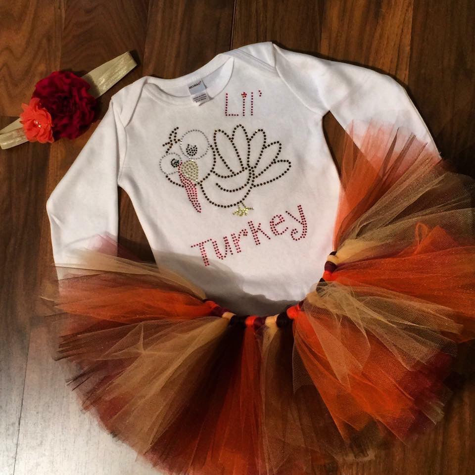 lil' Turkey Tutu Set - Paisley Bows