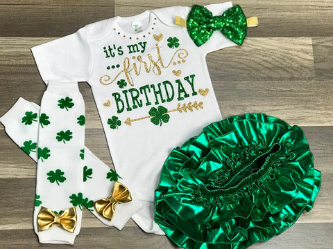 St. Patrick's Day First Birthday - Paisley Bows