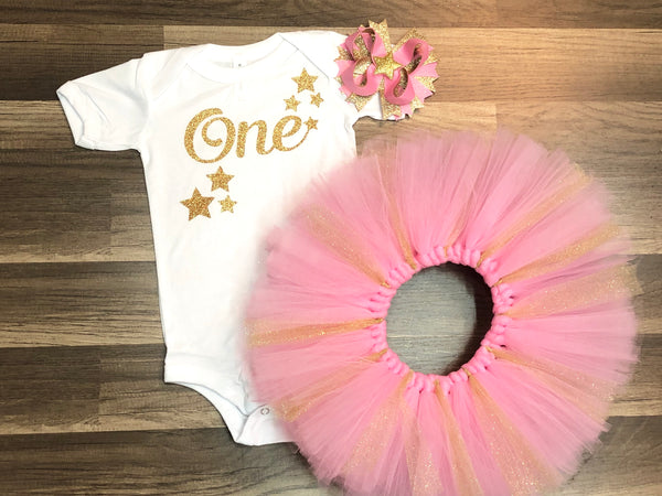 Pink And Gold Star 1st Birthday Tutu Outfit - Paisley Bows