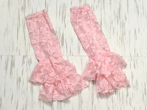 Light pink lace leg warmers - Paisley Bows