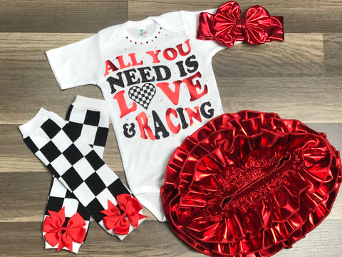 All You Need Is Love And Racing 4pc set - Paisley Bows