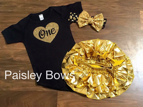 Black And Gold First Birthday Set - Paisley Bows