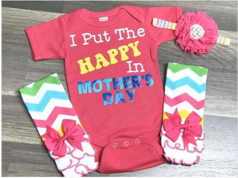I Put The Happy In Mother's Day - Paisley Bows
