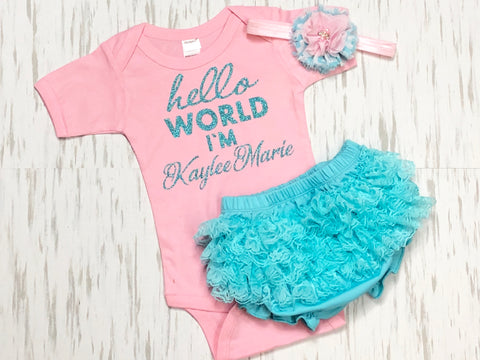 Customized Hello World Outfit - Paisley Bows