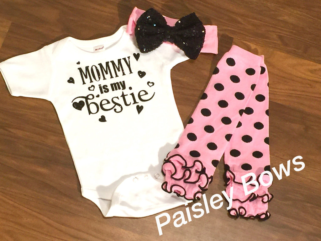 Mommy Is My Bestie - Paisley Bows