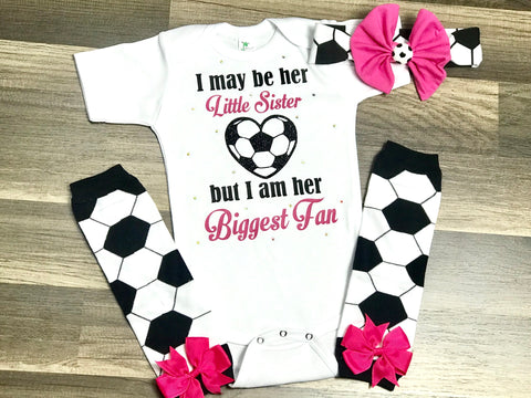 I May Be Her Little Sister Soccer - Paisley Bows