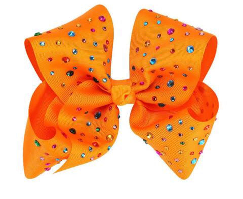 Orange Rhinestone Hair Bow - Paisley Bows
