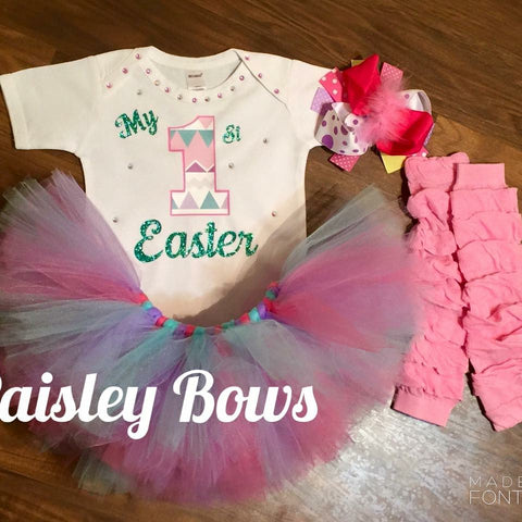 My First Easter Tutu Outfit - Paisley Bows