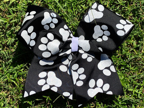 Black and White Glitter Paw Print Cheer Bow - Paisley Bows