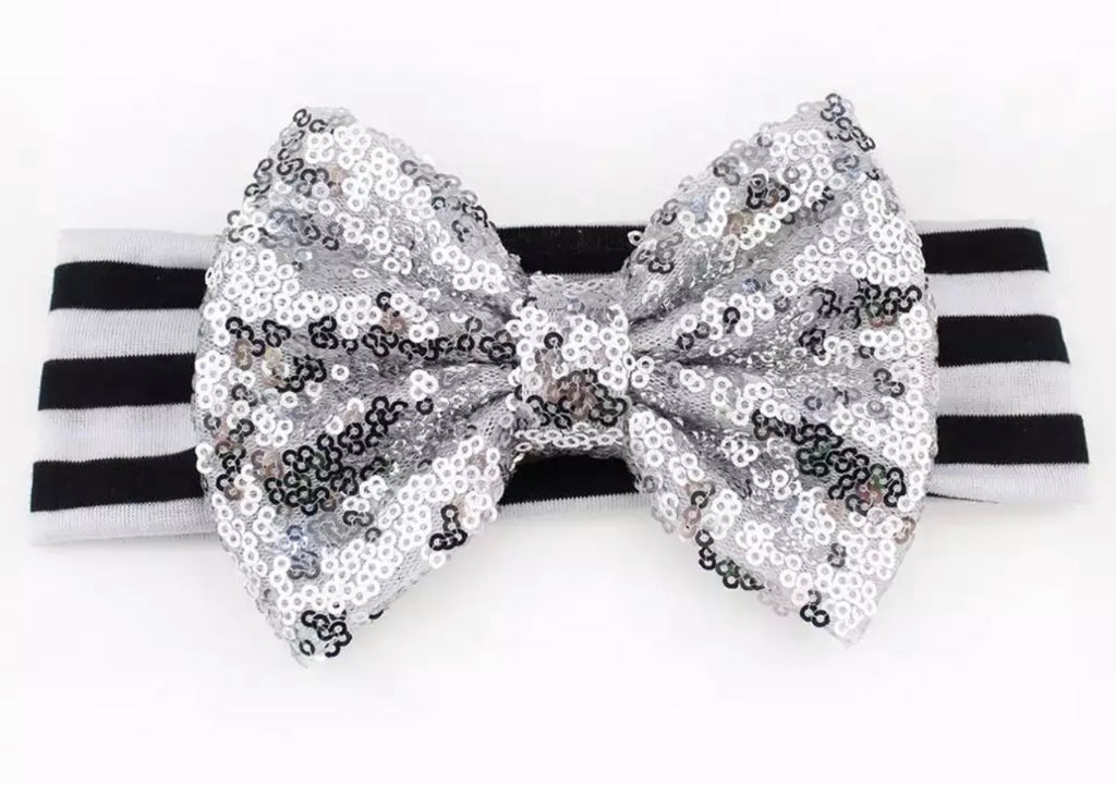 Black And Silver Sequin Bow Headband - Paisley Bows