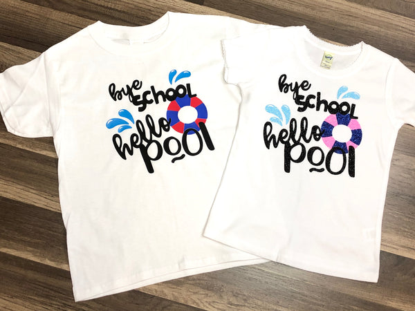 Bye School Hello Pool - Paisley Bows