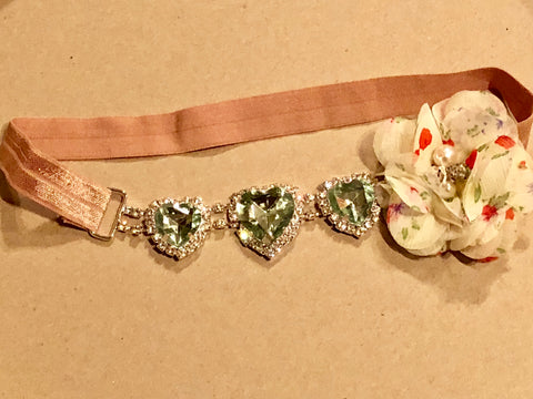 Vintage Green Heart Headband