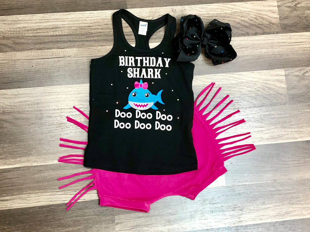 Birthday Shark Shorts Outfit - Paisley Bows