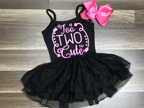 Black and Pink Too Two Cute Dress and Bow - Paisley Bows